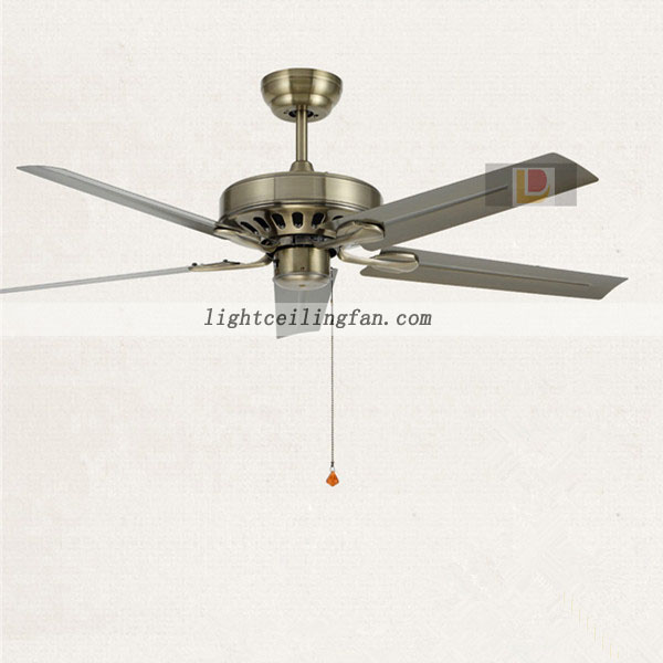 Green Antique Brass Metal Modern Ceiling Fan without light for