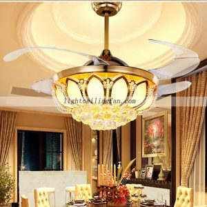 42inch Crystal LED Ceiling Fan With Foldable Blades Gold color
