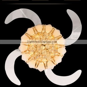 42inch Crystal LED Ceiling Fan With Gold color
