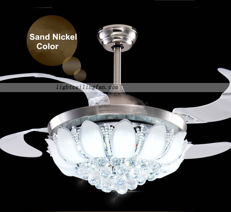 42inch Crystal LED Ceiling Fan With Foldable Blades Gold
