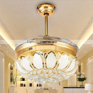 42inch LED Ceiling Fan With Foldable Blades Gold color