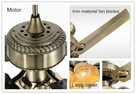 48inch antique bronze fans iron modern ceiling fans with lights