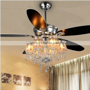 56inch Chrome Color Crystal ceiling fans light with 6pcs lamps