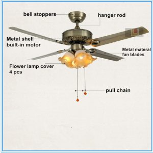 48inch Antique Bronze Fans Iron Modern Ceiling Fans With
