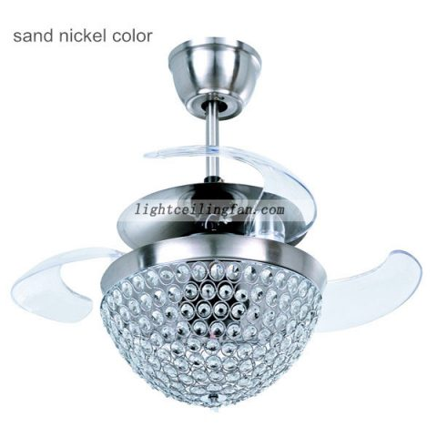 Arcylic 42inch Retractable Crystal Invisible Ceiling Fan