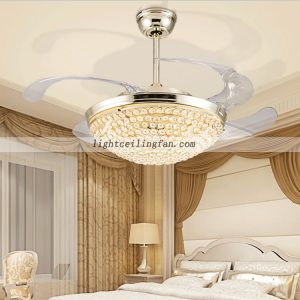 Arcylic 42inch Retractable Crystal Invisible Ceiling Fan Remote fan