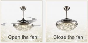 Arcylic 42inch Retractable Crystal Invisible Ceiling Fans Remote Controlling fan