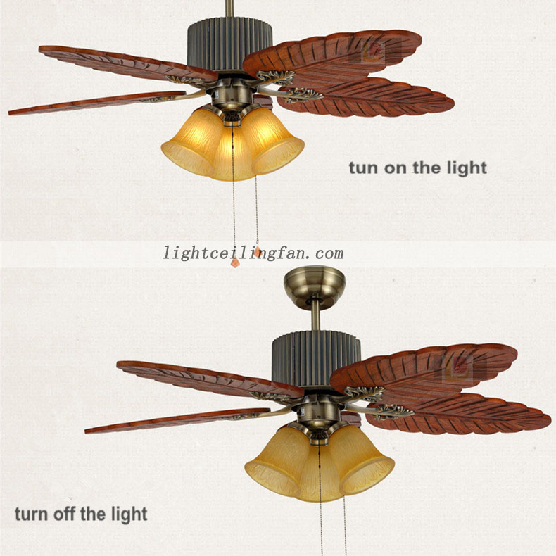 48inch Bronze Ceiling Fan Wood Blades Leaf Wood Ceiling