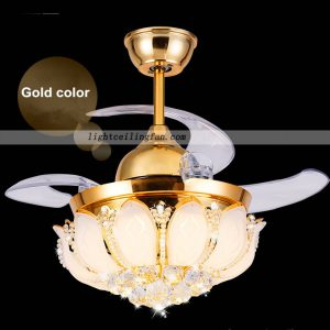 Crystal LED Ceiling Fan With Foldable Blades Gold color