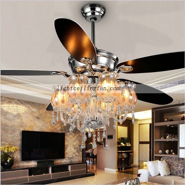 Decorative 56inch Chrome Color Crystal Ceiling Fan Light