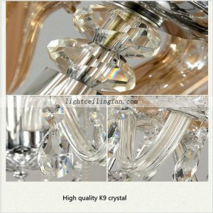 Decorative 56inch Chrome Color Crystal ceiling fan lights with 6pcs lamps