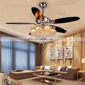 Decorative 56inch Chrome Color Crystal ceiling fans lights with 6pcs lamps