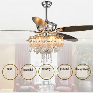 Decorative 56inch Chrome Crystal ceiling fan light with 6pcs lamps