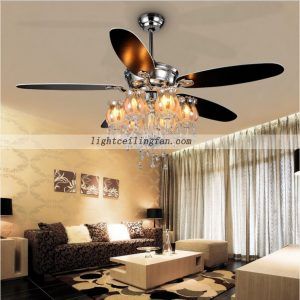 Decorative 56inch Crystal ceiling fan light with 6pcs lamps