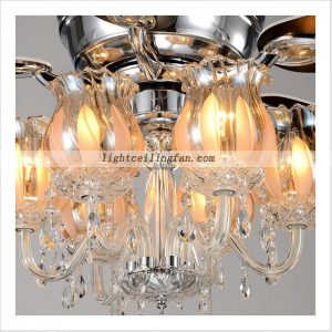Decorative Crystal ceiling fan light with 6pcs lamps