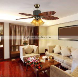 Wood Blades Leaf Wood Ceiling Fan Light with 5 Blades 3 Speed