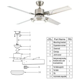 installation instructions for ceiling fans light