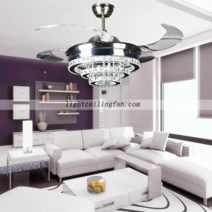 42inch-crystal-shade-four-hidden-blades-led-ceiling-light-fans