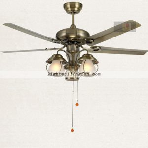 52inch Decorative Green Bronze Metal Ceiling Fan Lights