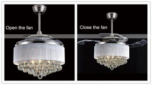 Led Acrylic Blades crystal Invisible Ceiling Fans Lights