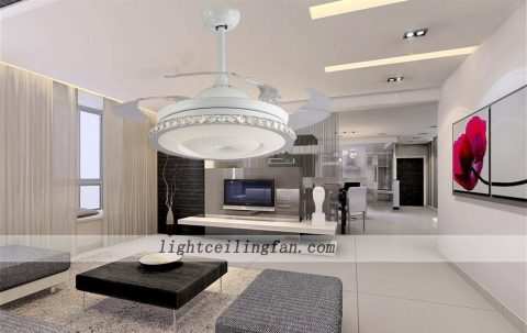 42inch round shaped acrylic led ceiling fans lights with foldable invisible blades ceiling fan light