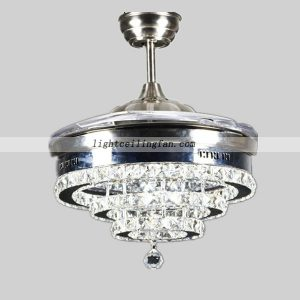 Crystal Shade Four Hidden Blades Led Ceiling Light Fan