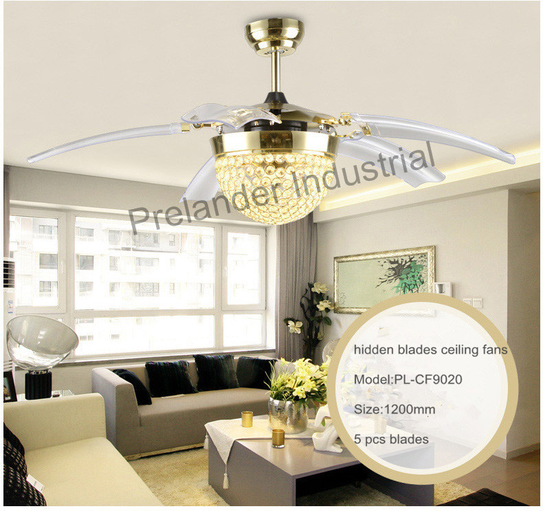 Hidden Ceiling Fan 42inch modern led ceiling fans foldable invisible blades ceiling