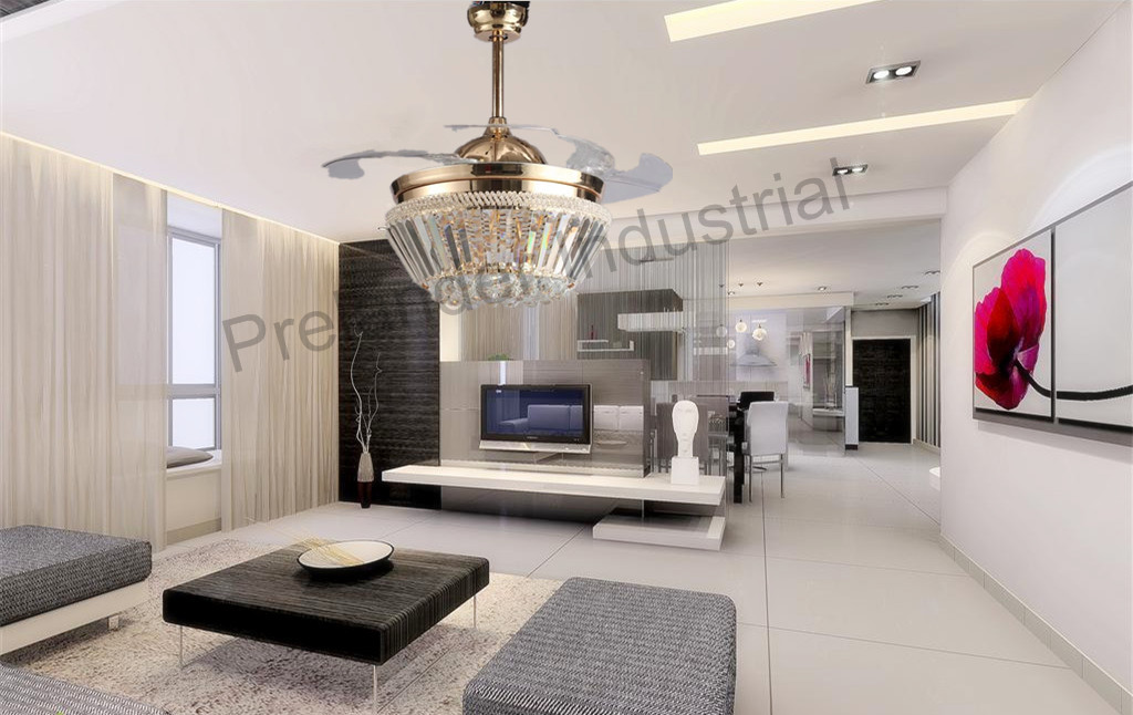 42inch Luxury Crystal Invisible Ceiling Fan Remote Control