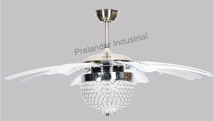 42inch Modern Led Ceiling Fans Foldable Invisible Blades