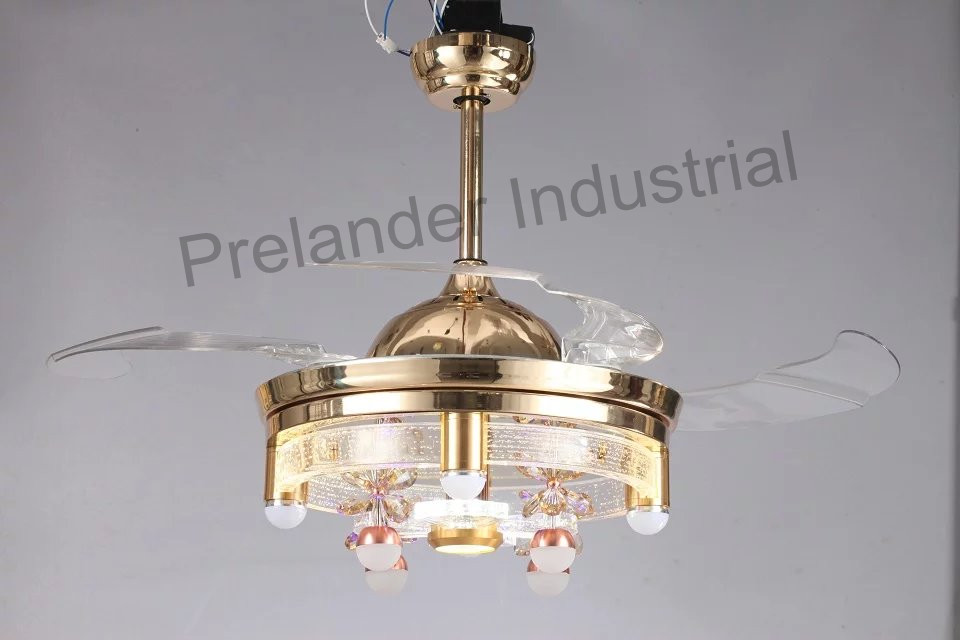 modern ceiling fan with lights invisible led folding
